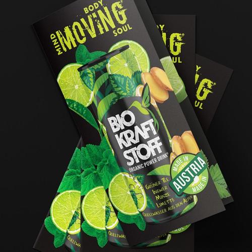 Ecological packaging with the title 'Flyer BIOKRAFTSTOFF AUS ÖSTERREICH: ORGANIC POWER DRINK'
