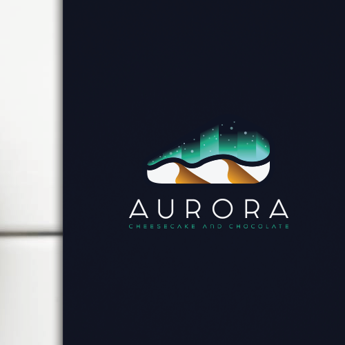 Desert design with the title 'Thick line logo concept for AURORA cheesecake and chocolate shop'