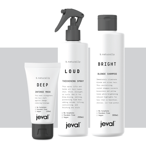 Fashion packaging with the title 'Leading Hair Styling product range needs new minimal style packaging'