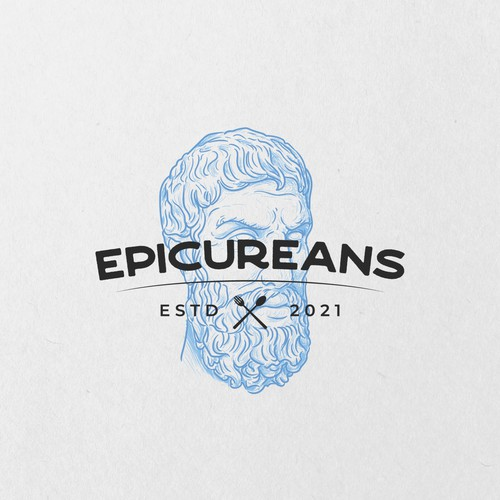 Sketchy logo with the title 'Logo concept for Epicureans'