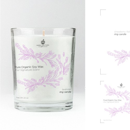 Lavender label with the title 'Candle label'
