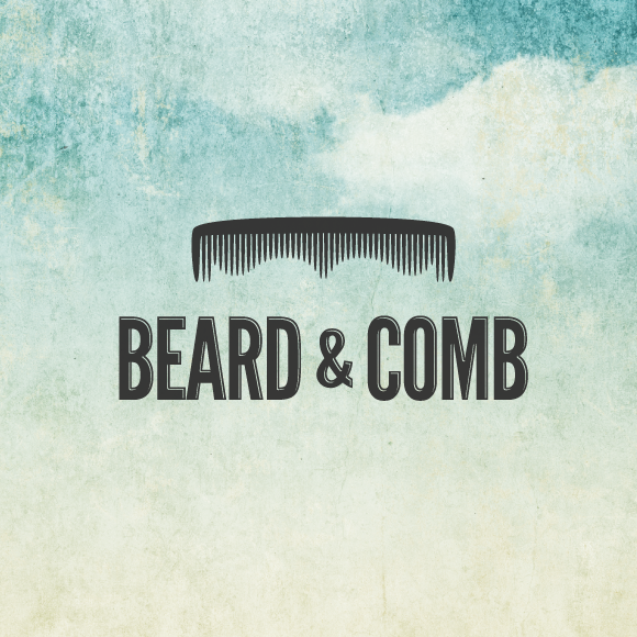 Moustache design with the title 'Beard & Comb'