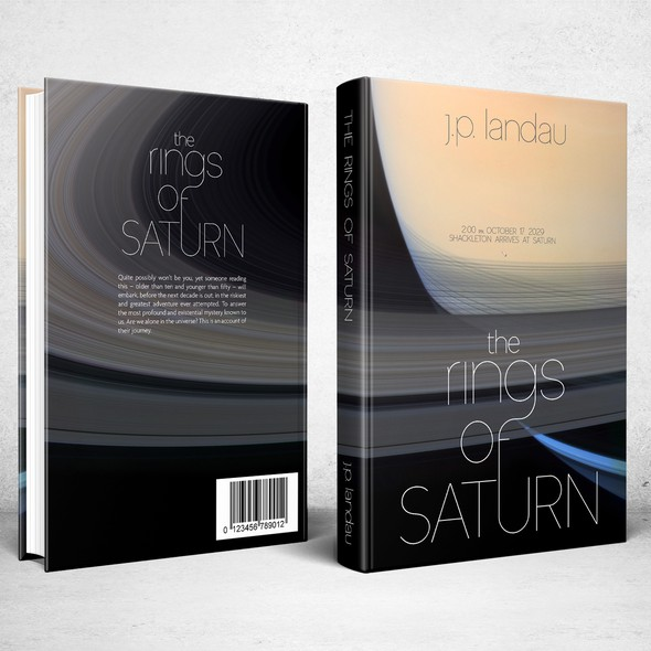 Saturn design with the title 'Book cover for The Rings Of Saturn'