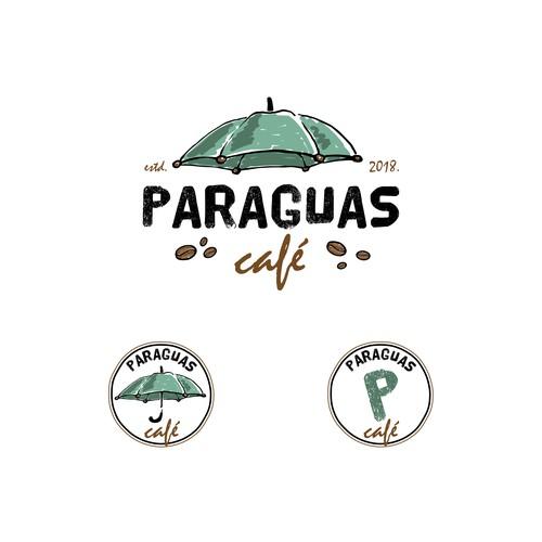Freehand design with the title 'Paraguas café'