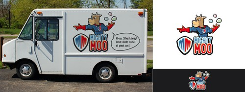 Super power logo with the title 'Mighty Moo'