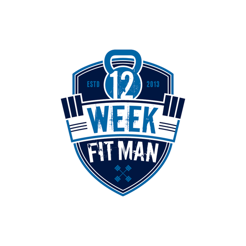 Shield logo with the title 'Create the next logo for 12 Week Fit Man'