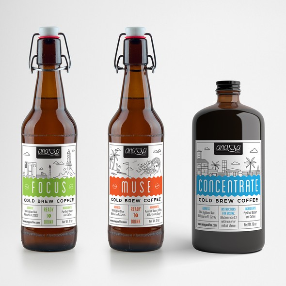 Florida design with the title 'Labels for cold brew coffee'