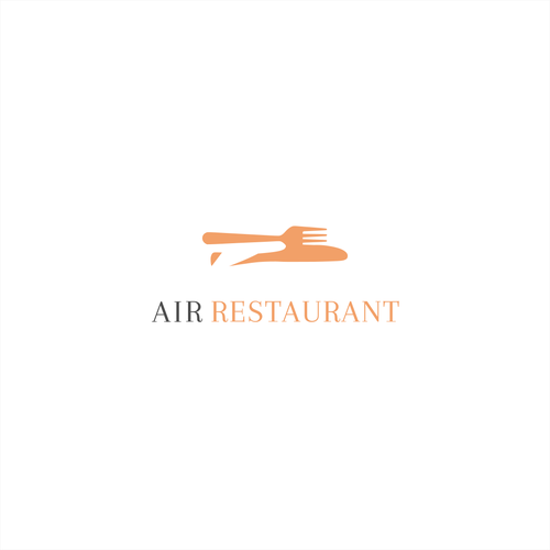 Orange and gray logo with the title 'Logo concept for a restaurant.'