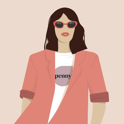 Minimal artwork with the title 'Fashion illustration'