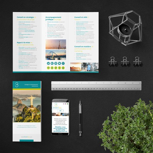 Logistics design with the title 'Modern Clean Brochure for Brasilizy'