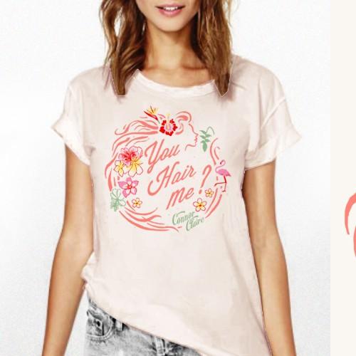 Beachwear design with the title 'HAIR concept T-shirt design w/ Tropical retro vibe'