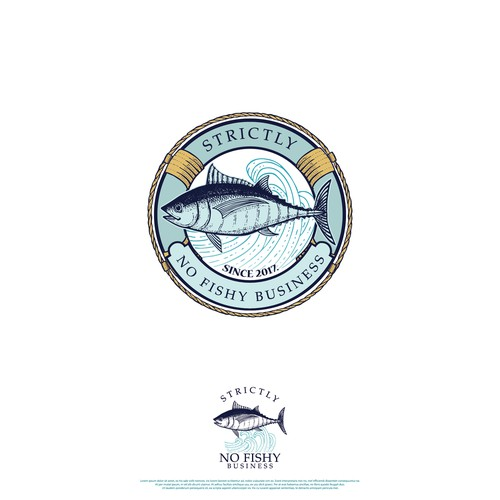 Fish logo with the title 'No fishy bussines'