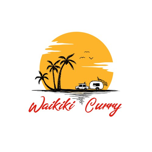 Palm tree design with the title 'Waikiki Curry'