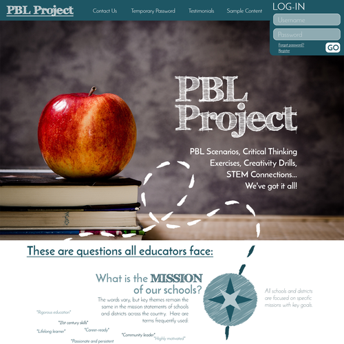 Learning website with the title 'Website for Problem Based Learning'