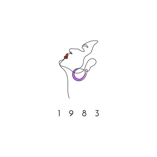 One line design with the title 'modern logo with '80 feel'
