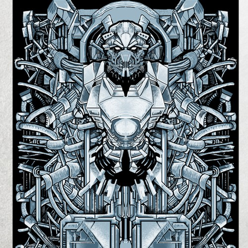 Robot artwork with the title 'Create a Design for Animals As Leaders'
