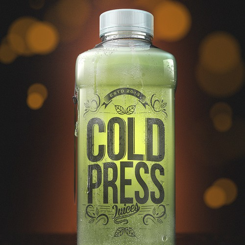 Bottle packaging with the title 'Cold Press - Package Design'