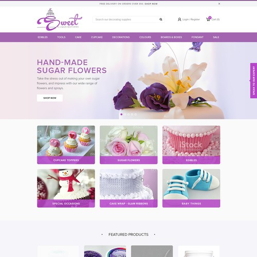 Sugar design with the title 'Create a new and refresh Sweet Inspirations web design'