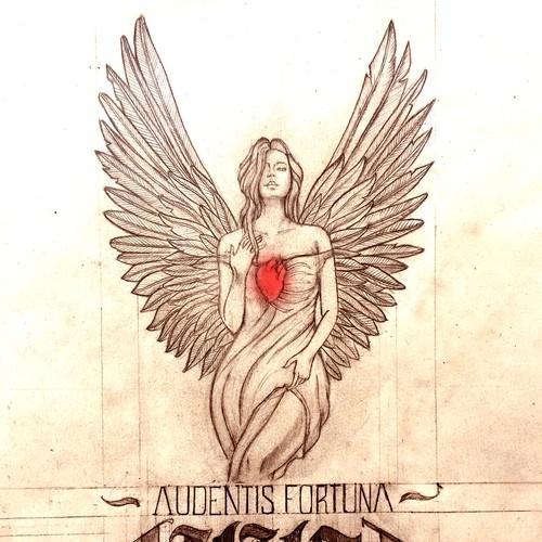 Calligraphy illustration with the title 'Audentis Fortuna Iuvat'