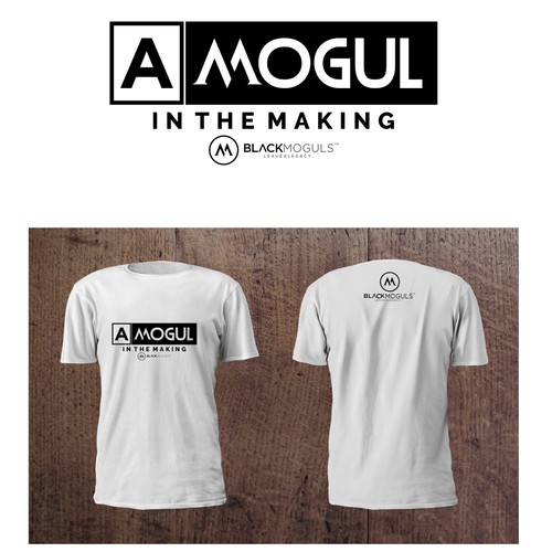 Black t-shirt with the title 'T-shirt Design for BLACKMOGULS'