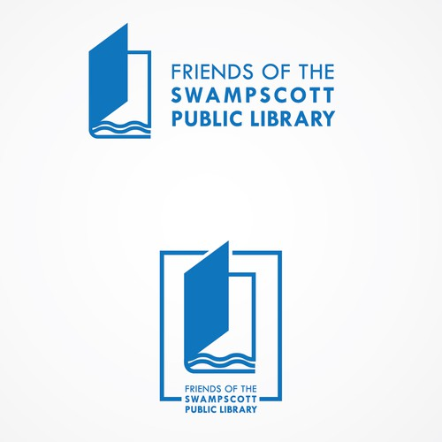 Library logo with the title 'Modern logo concept for a public library in a seaside town'