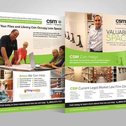 Handout design with the title 'Attention-Getting Flyer to help CSM Sell More Projects to Law Firms!'