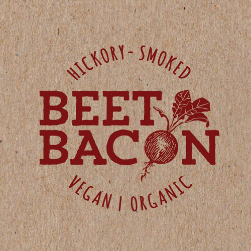 Red design with the title 'Beet Bacon - Create the brand/logo for a next generation food!'