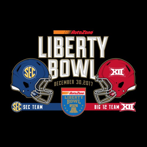Football illustration with the title 'Autozone Liberty Bowl 2017'