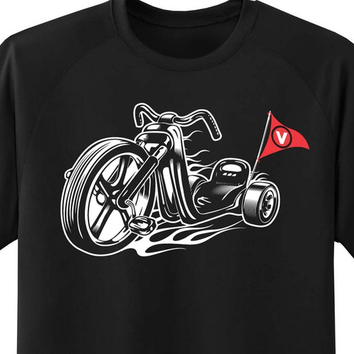 Biker design with the title 'Hot Rod Tricycle'