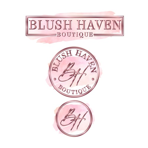Glamorous logo with the title 'Blush Haven Boutique'