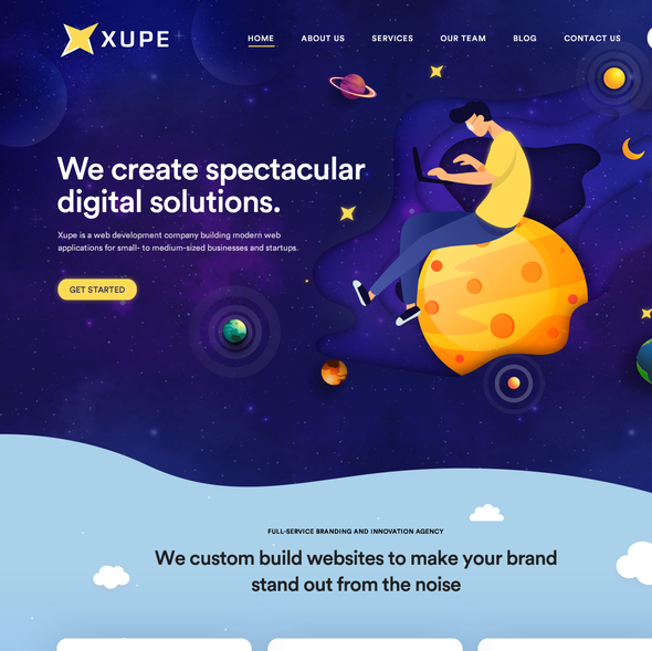 Space website with the title 'Creative Web Design'