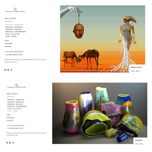 Painter design with the title 'Website - Artist (Paintings, Sculpture, Glass)'