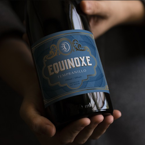 Winner label with the title 'Wine label design for Equinoxe'