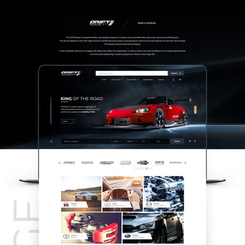 Theme website with the title 'Web Design for Drift Society'