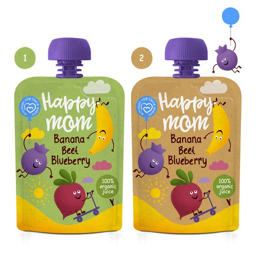 Cartoon packaging with the title 'Design a package for a baby food brand'