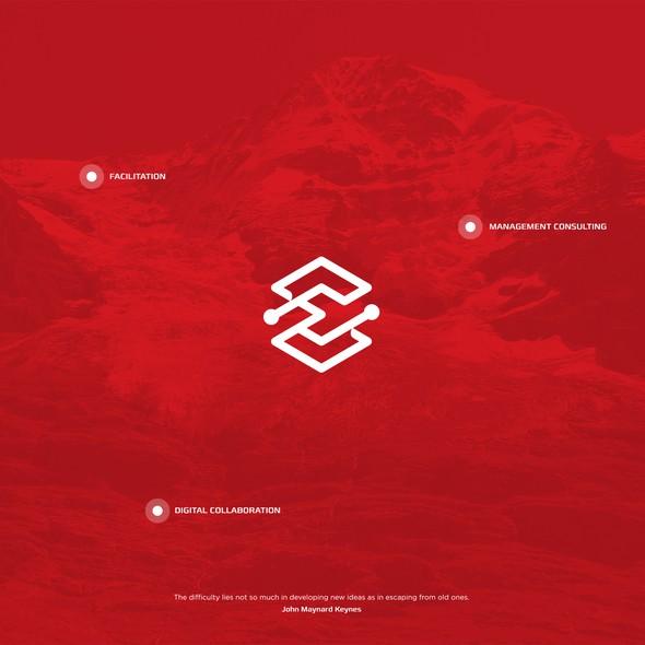 Open design with the title 'Hexagon E logo'