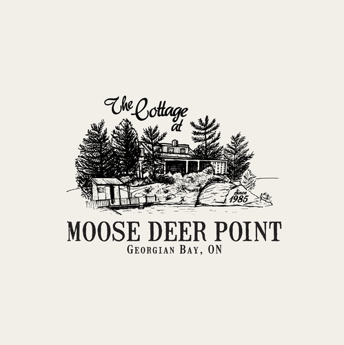 Cottage design with the title 'The Cottage at Moose Deer Point Georgian Bay, ON since 1985 — Summer cabin revamp! Ink, fine line Illustration and logo design.'