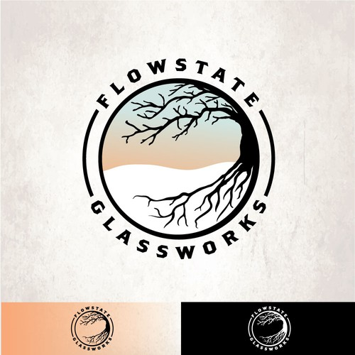 Industrial logo with the title 'Flowstate Glassworks'