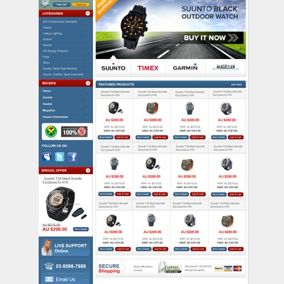Web page design for  The Outdoor Watch Company