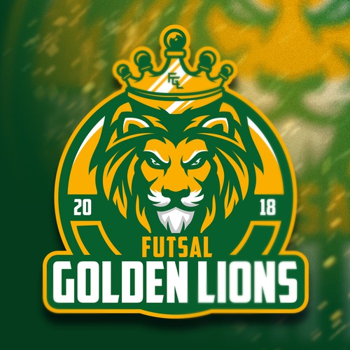 Yellow design with the title 'Futsal Golden Lions 2018'