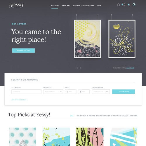 Layout design with the title 'Art Gallery website'