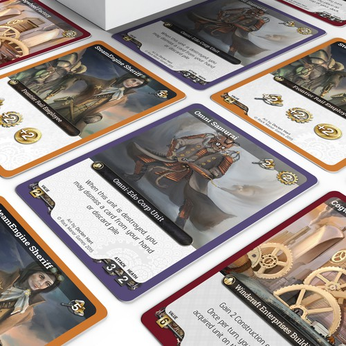 Steampunk design with the title 'Steampunk card game design'