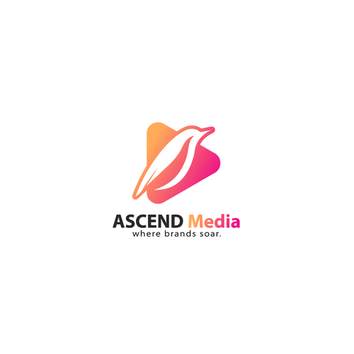 Orange and purple logo with the title 'Bold Clever logo for ASCEND MEDIA'