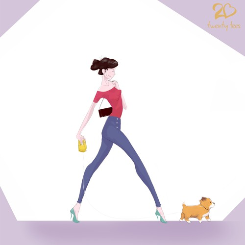 Female illustration with the title 'Illustration of Female Character for a T-shirt Brand'