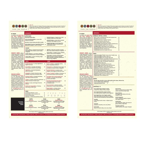 Layout design with the title 'Restaurant menu'