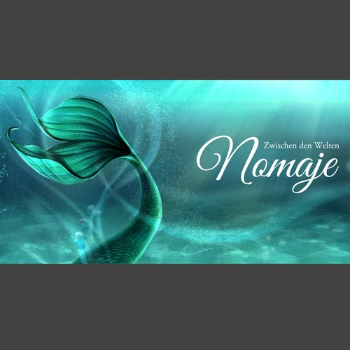 Mermaid artwork with the title 'Book cover; Facebook cover design'