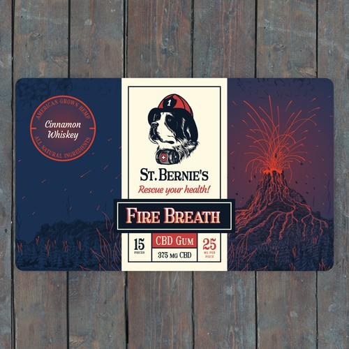 Intricate design with the title 'Fire Breath CBD Gum Label'