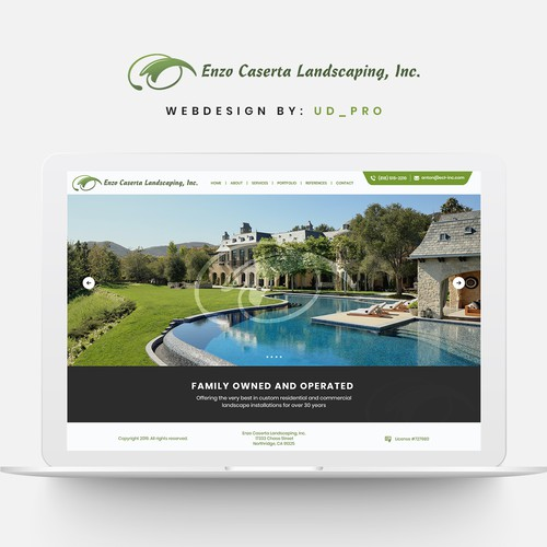 Grass design with the title 'Website redesign for landscaping company'