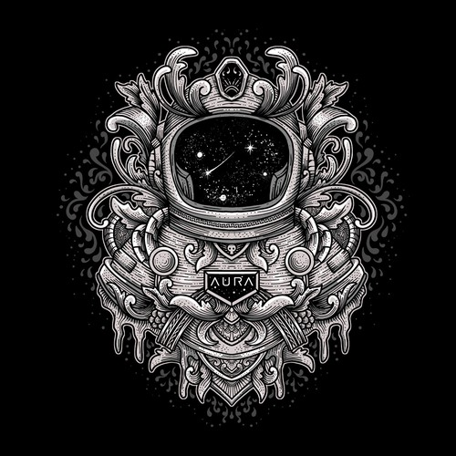 Space t-shirt with the title 'T-shirt design concept for AURA'