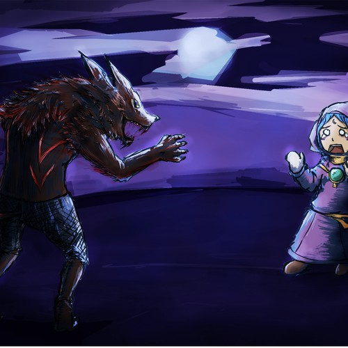Night illustration with the title 'Werewolf Game!'